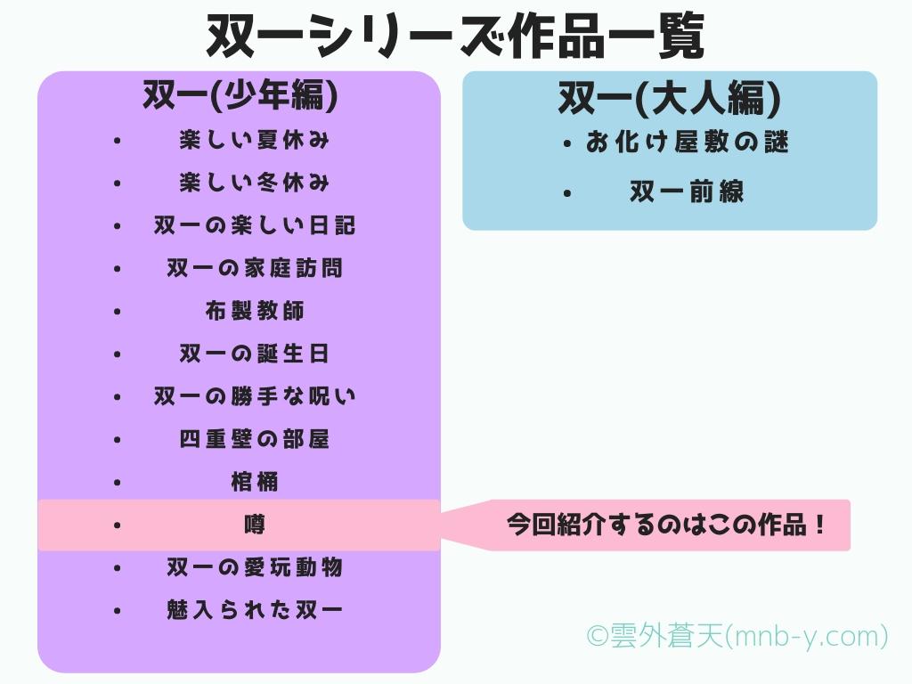 双一シリーズ作品紹介『噂』